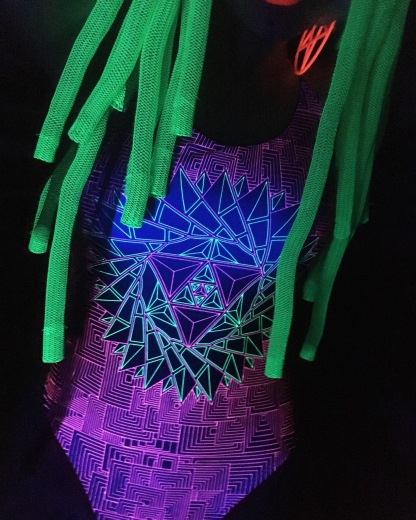 bibi babydoll neon body alucinarium alien cyberlox neon green uv light rave raver