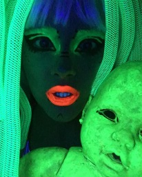 bibi babydoll neon body alucinarium alien cyberlox neon green uv light rave raver alien baby