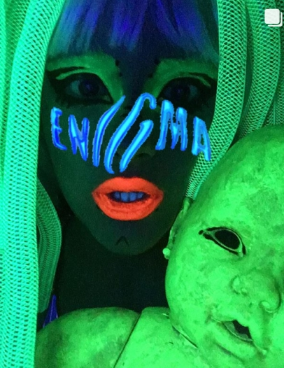 bibi babydoll neon body alucinarium alien cyberlox neon green uv light rave raver enigma lady gaga las vegas