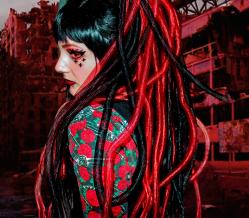 bibi babydoll red cyber goth cyberlox gothic industrial